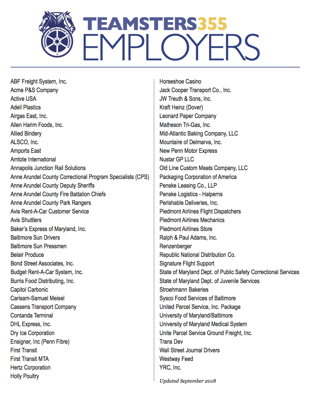 Teamsters Local 355 - Local 355 Employers